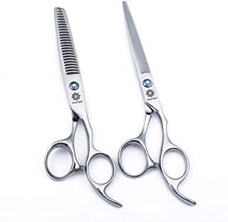 "6.0"" Professional Barber Scissors Kit and Hair Cutting Scissors - Barber Razor Edge Shears - Fishbone-Shaped Big Tooth Hair Thinning/Blending/Layering Scissors (Antlers Teeth)"
