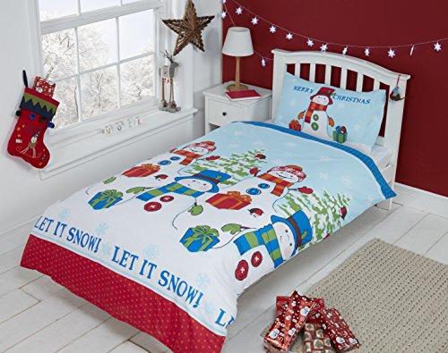 Christmas Kids Ours Polaire de Noël Enfants Pingouins de Noël Parure de lit avec Housse de Couette et 2 taie d'oreiller Parure de lit, Multicolore, Double
