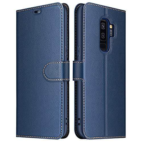 ELESNOW Funda Samsung Galaxy S9 Plus, Premium Cuero Billetera Flip Protectora Carcasa Magnético para Samsung Galaxy S9 Plus (Azul)