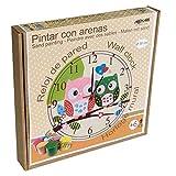 Arenart | Lámina Reloj Búhos Ø30 cm | para Pintar con Arenas de Colores | Manualidades para...