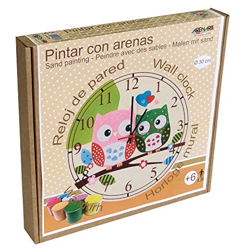 Arenart | Lámina Reloj Búhos Ø30 cm | para Pintar con Arenas de Colores | Manualidades para Niños | Dibujo Infantil | +6 años