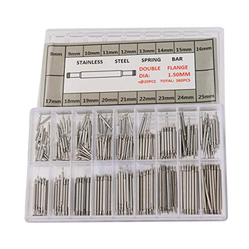 VROSE FLOSI Federsteg-Set 360-teilig für Uhrenarmbänder (8-25 mm) Federstege - Federstifte - Uhrenstifte in Klarsichtbox