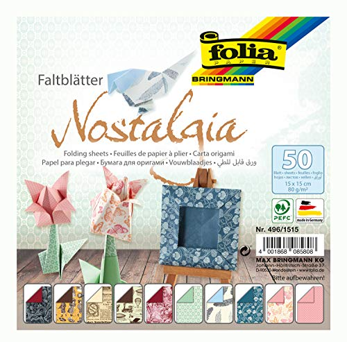 folia 496/1515 - Faltblätter Nostalgia, 15 x 15 cm, 80 g/qm, 50 Blatt sortiert in 10 Motiven - ideal für wunderschöne Faltfiguren und -formen