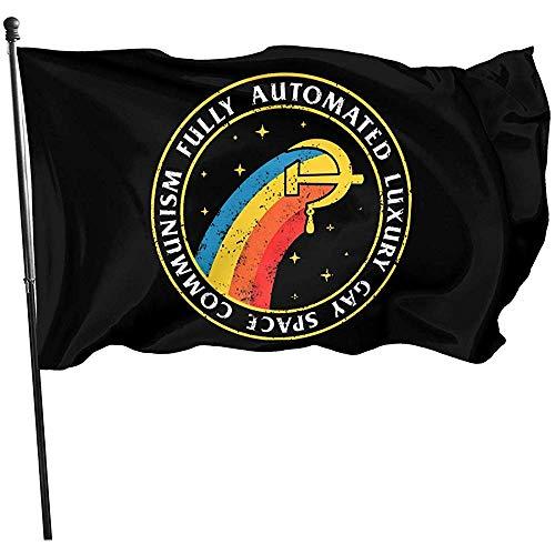 KDU Fashion Outdoor Seasonal vlag, American Fly Breeze Flag - Volautomatische Gay Space Communism Stijlvolle seizoensgebonden vlaggen voor tuin Yard 90x150cm