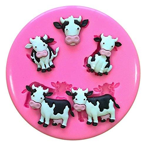 Vacas lindas de la leche Animales del corral Molde de silicona para la torta de Decoración Pastel de Cupcake Toppers Glaseado Sugarcraft Tool por Fairie Blessings