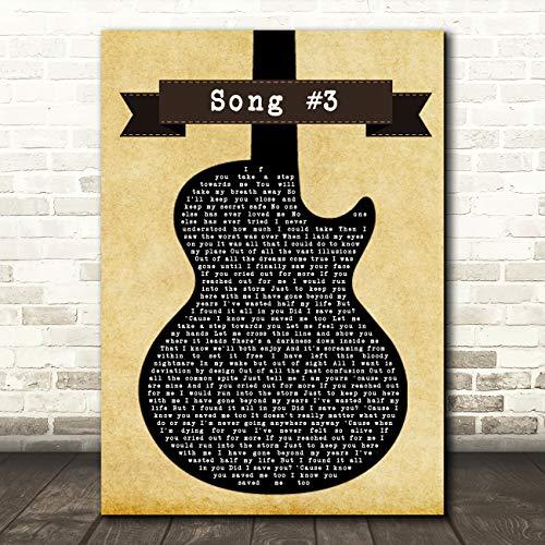 Nummer 3 Zwarte Gitaar Song Lyrische Quote Muziek Gift Muur Kunst Poster Print Medium A4