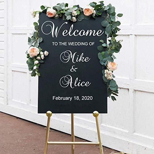 Sticker mural autocollant de mariage signe décoration de mariage Bienvenue bricolage sticker mural mariée et le marié noms date de mariage personnalisé affiche en vinyle 53X42Cm