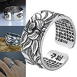 yeehao 999 Silber Lotus Ring mit Herz Sutra Einstellbare Open End Fingerring Schmuck Geschenke