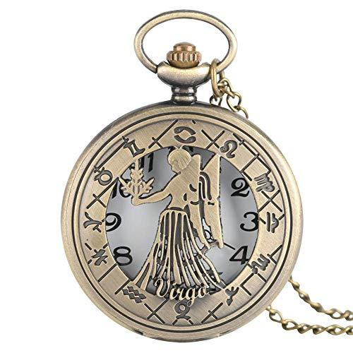 Virgo Naszyjnik Znak Zodiaku Vintage Kwarcowe Zegarki Kieszonkowe Astrologia Wisiorek Urodziny na sierpień i wrzesień Prezent Mężczyźni Kobiety Dziecko