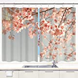 JISMUCI Cortina de Cocina Melocotón, Paisaje japonés Árbol de sakura Flor de cerezo...