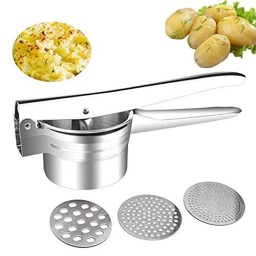 Schiacciapatate, Potato Ricer in Acciaio Inox - con 3 Dischi intercambiabili Pressa per Purè di Patate Liscie, Marmellata, Verdure E Frutta