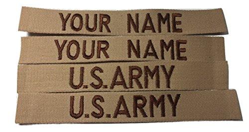 4 piece Desert Tan Name & Branch Tape set, Sew-On, Custom US Army USMC Tape, Customized