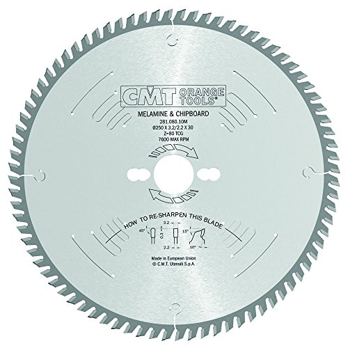 CMT 281.080.10M Industrial Panel Sizing Saw Blade and  250mm 9-27/32-Inch by 80 Teeth TCG Grind with 30mm Bore