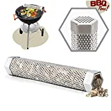 G.a HOMEFAVOR Smokers Tube 12' Stainless Steel Pellet Smoker Tube, BBQ Wood Pellet Tube Smoker for Cold/Hot Smoking - 5 Hours of Billowing Smoke - 30cm