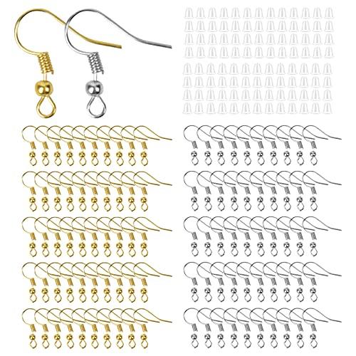100pcs Ganchos para Pendientes 100 Tapones de Pendiente Earrings Making Supplies Kit Enganches para Pendientes Ganchos para Pendientes Kit Pendientes Accesorios para Hacer Bisutería de Reparación