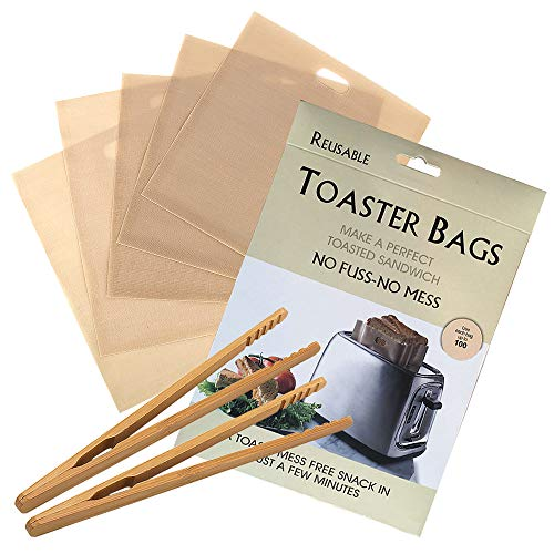 Skystuff 6 bolsas de tostadora reutilizables con bolsillos para tostadora antiadherentes, bolsas de almacenamiento para sándwich, pizza, pan, bocadillos con 2 pinzas para tostadas