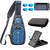 YB-OSANA 5 in 1 Crossbody Travel Bag for Switch Console +Hard Case Bag+Adjustable Switch Stand+ Switch Screen Protector+ Switch Joycon Thumb Grips for Nintendo Switch Travel Accessory