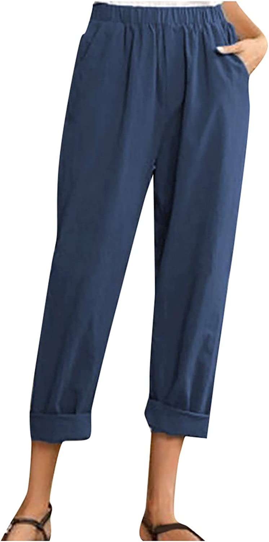 UBST Summer Pants for Women Casual Pockets Cotton Linen Wide Leg Trousers Loose Elastic Waist Capris Beach Crop Pants