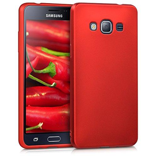 kwmobile Hülle kompatibel mit Samsung Galaxy J3 (2016) DUOS - Handy Hülle Metallic Dunkelrot