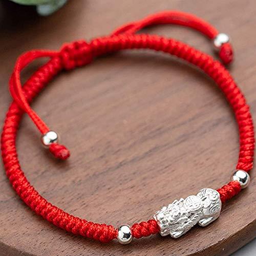 Pulsera de La Suerte,Pulsera de La Riqueza de Feng Shui para Mujer 999 de Plata Pura Pixiu Pi Yaobraided Pulsera de Cuerda Roja Pulsera de Cuentas de Plata Pulsera Ajustable Atraer Dinero Amuleto