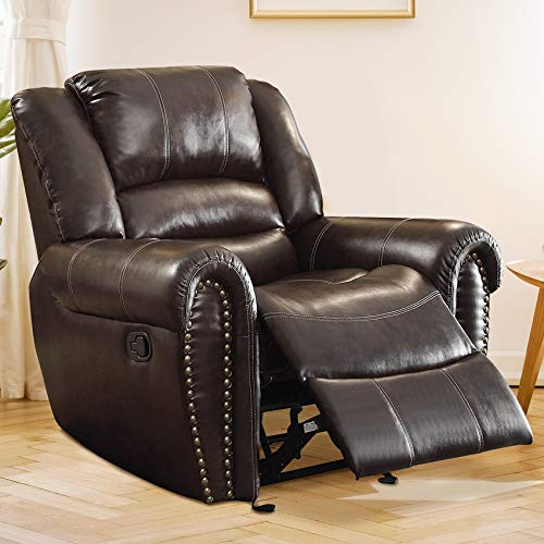 Good & Gracious Recliner Chair Faux Leather Oversized Reclining Sofa,Heavy Duty and Overstuffed Arms and Back Classic Recliners for Bedroom/Living Room, Brown