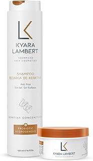 Kyara Lambert - Pack Keratina   Tratamiento nutritivo para cabellos lisos y anti-frizz   Shampoo y Mascarilla Recarga de Keratina 400ml 280ml   Post Tratamiento Queratina