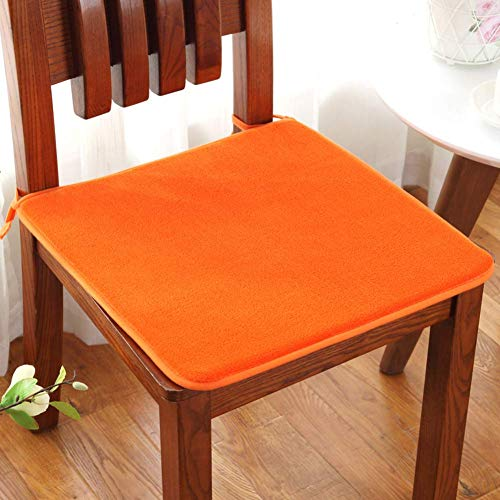YLCJ Indoor Outdoor Seat Cushion, Dining Chair Warm Pad, Office Seat Cushion, Cotton Chair Pad, Set of 2 Orange 50x50cm (20x20inch)