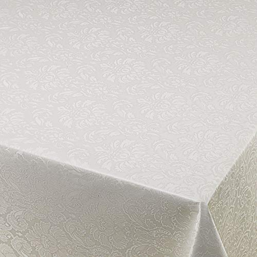 Wachstuch Wachstischdecke Gartentischdecke Tischdecke Blumen Relief Weiß Geprägt Breite & Länge wählbar 80 x 160 cm abwaschbar