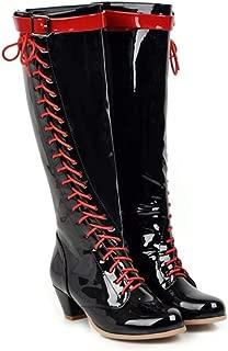 Women Patent Leather Knee High Boots Western Cross Tied Strap Buckle Zipper Fashion Block Heel Boots