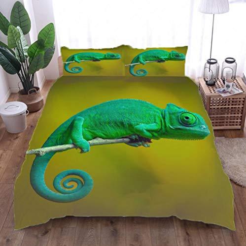 Ropa De Cama 3D camaleón Playa Fundas De Almohada con Estampado 3D Funda De Edredón Moderno De Poliéster-Algodón Juego De Cama para Niños 220cm x 230cm