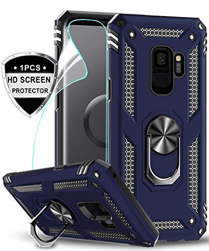 LeYi Hülle Galaxy S9 Handyhülle,360 Grad Drehbar Ringhalter Cover TPU Magnetische Bumper Stoßdämpfung Schutzhülle mit HD Folie Schutzfolie für Case Samsung Galaxy S9 Handy Hüllen Dunkelblau