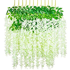 Myselfly 6 12 Pieces Artificial Silk Wisteria Flower Hanging Silk Vine Rattan Fake Bush Flower for Home Party Wedding Garden Outdoor Greenery Decoration 3.67 Feet Multi Color