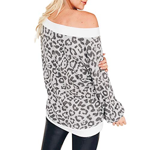 Cuteelf Damen Hemd großen V-Ausschnitt Langarm Leopard Pullover Loses Hemd Sweatshirt Mode lässig Schultern bequem Herbst und Winter warmen Boden sexy Langen Ärmeln