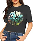 Tame Impala Shirt Sexy Exposed Navel Female T-Shirt Bare Midriff Crop Top (Black, S)