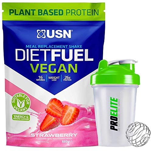 USN Diet Fuel Vegan Meal Replacement Protein Shake 880g + Shaker (Strawberry)