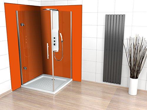 KERABAD Duschrückwand Badrückwand Wandverkleidung Fliesenverkleidung Badsanierung mit Duschrückwänden aus Aluverbund 110x260cm Orange RAL2004 kb-ib80260or-28