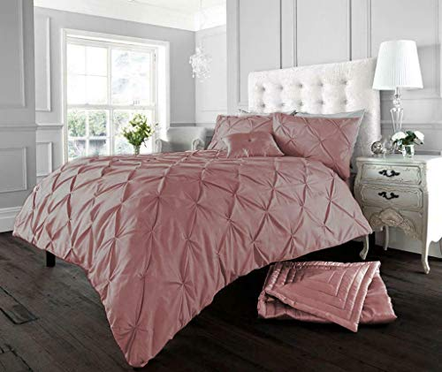 Looms-Work Luxurious Pintucks Style Duvet Covers Quilt Covers Bedding Sets (Dusty Pink, King Size)