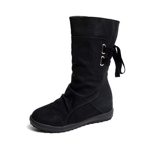 56931228220 Botines Mujer Invierno Otoño Motorista Hebilla Botas Planos Tobillo Cuña  Calzado Casual Zapatos con Tacon Aumento