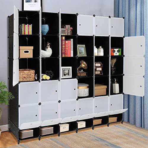 VINGLI Cube Storage Organizer Plastic Closet Cabinet DIY Plastic Modular Book Shelf Unit Cube Shelves with Doors and Hanging Rods30 Cubes