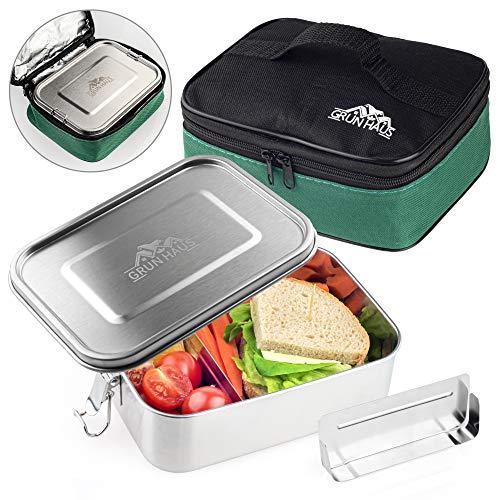 Grün Haus hochwertige Edelstahl Brotdose mit Isoliertasche - Lunchbox mit Fächern - Auslaufsicher Spülmaschinenfest Zero Waste Bento Box und Meal prep Behälter
