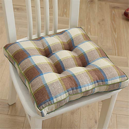 RAILONCH Cojín de asiento para silla, cojín de suelo grueso de lino, cojín decorativo para silla de jardín, cojín acolchado para tatami, jardín, 40 x 40 cm (color café + beige + azul)