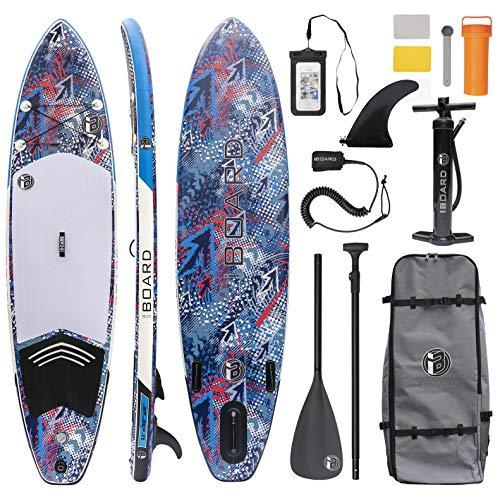 iBOARD Tabla de remo inflable | Tabla de pie de tabla de surf | 11 × 32 × 6 ″ de espesor| Todos los accesorios en el interior