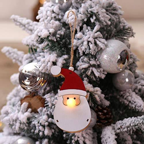Ansenesna Weihnachten Anhänger Holz Figuren Klein Elch Schneemann Weihnachtsmann Weihnachtsbaumschmuck Holzanhänger Holzfiguren Deko Christmas Schmuck