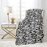 softan Flannel Blanket Lightweight Super Soft Ultra Luxurious Plush Fleece Zebra, 60' X 80'