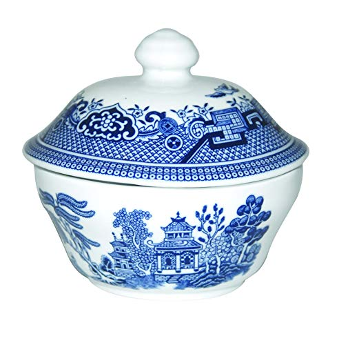 Churchill Blue Willow Fine China Earthenware Covered Sugar Bowl 5.5', Made In England