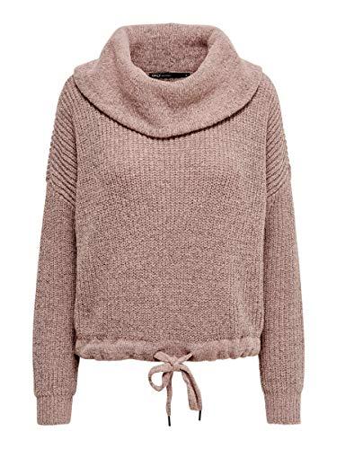 ONLY Damen ONLNIA L/S Rollneck KNT NOOS Pullover, Adobe Rose Melange, 38 (Herstellergröße: M)