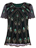 VIJIV Women's 1920s Vintage Beaded Tops Art Deco Scalloped Hem Embellished Sparkly Dressy Peacock Sequins Shirt Blouse Tunic Party