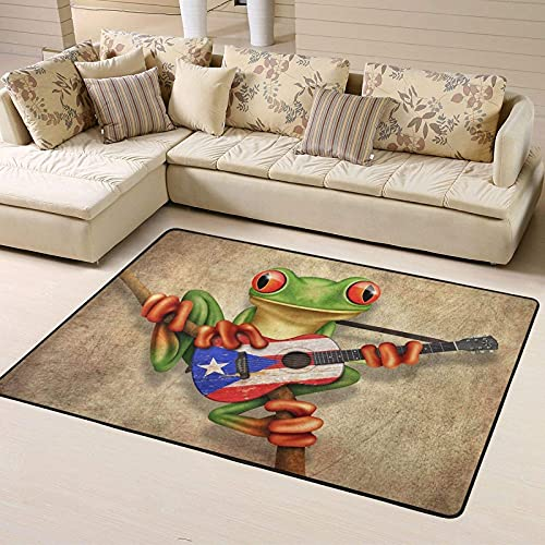 Elegant Floor Mat Carpet for Living Room Comfortable Flannel Area Rug Toddlers & Kids Non-Slip Tree Frog Playing Puerto Rico Flag Guitar Poster Playmat for Indoor Home Decoration