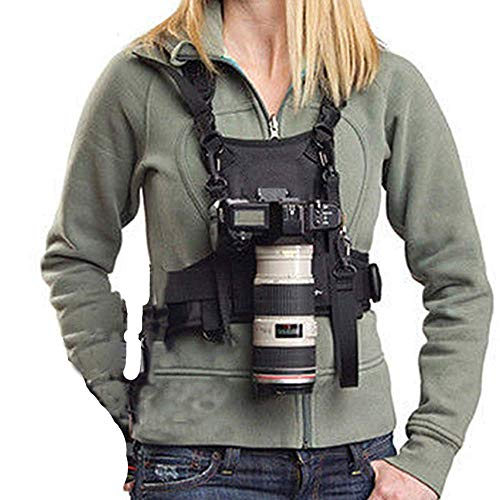 Nicama Camera Carrier Chest Harness Vest with Mounting Hubs & Backup Safety Straps for Canon 6D 5D2 5D3 Nikon D800 D810 Sony A7S A7R A7S2 Sigma Olympus DSLR Cameras