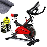 Sportstech SX100 Vélo d'Appartement, Poids d'inertie de 13 KG, accoudoir rembourré, Confortable Selle, cardiofréquencemètre,Courroie Silencieux - Tapis de Protection de Sol + Ebook Gratuit